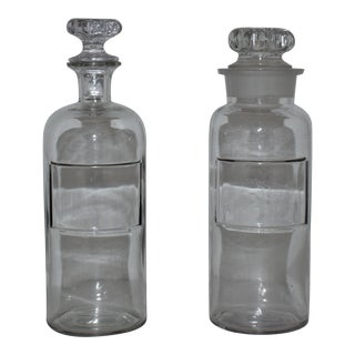 Antique French Apothecary Pharmacy Bottles with Stoppers - a Pair For Sale