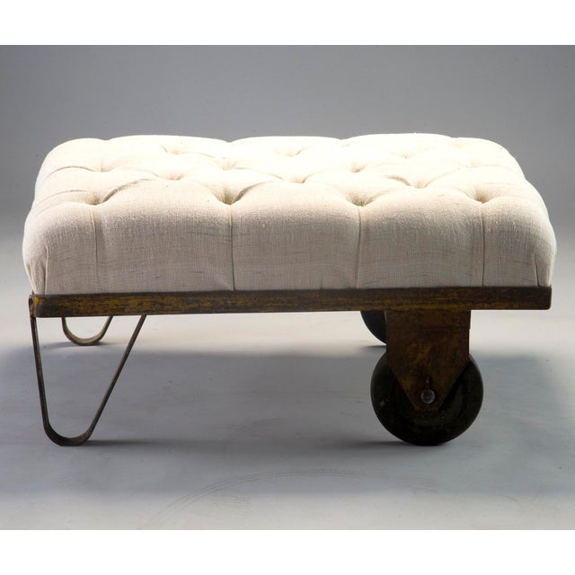 1930s Tufted Ottoman Bench Stool with Industrial Wheelbarrow Base For Sale - Image 9 of 13