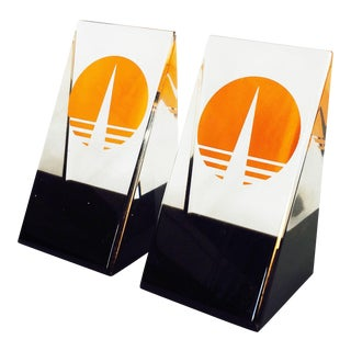 Vintage Op Art Bookends - A Pair