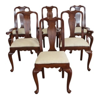 Set of 6 Solid Cherry Henkle Harris Dining Chairs For Sale