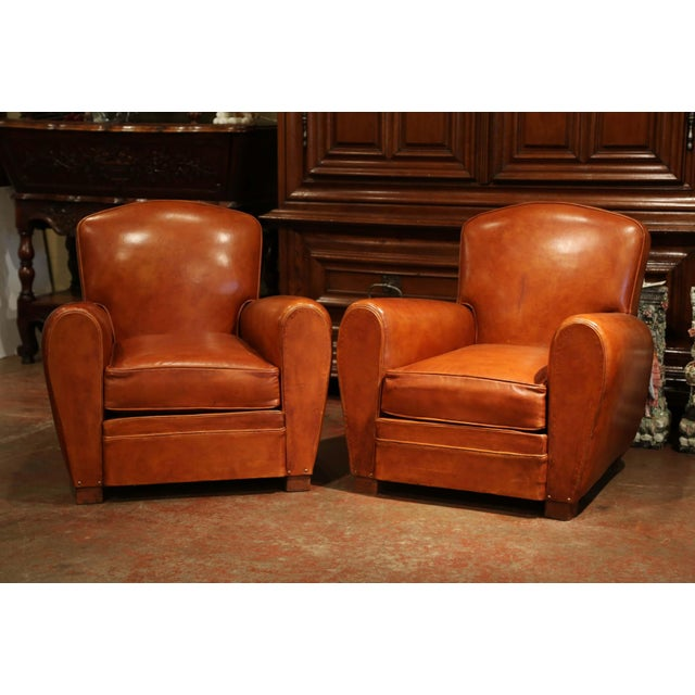 Art Deco Pair of Early 20th Century French Club Armchairs With Original Brown Leather For Sale - Image 3 of 9