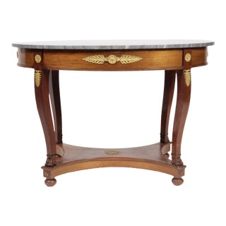 Vintage Regency-Style Marble Top Table For Sale