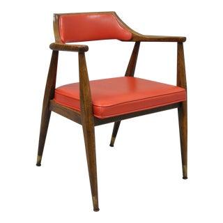 Jasper Chair Co Mid-Century Modern Sculptural Oak & Red Vinyl Desk Chair