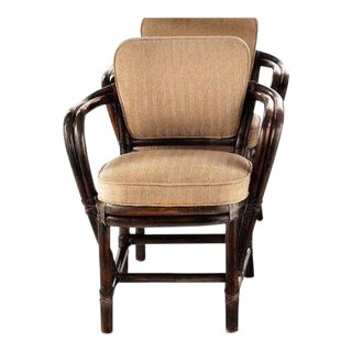 1990s Vintage McGuire Bamboo Rattan and Leather Dining Chair For Sale