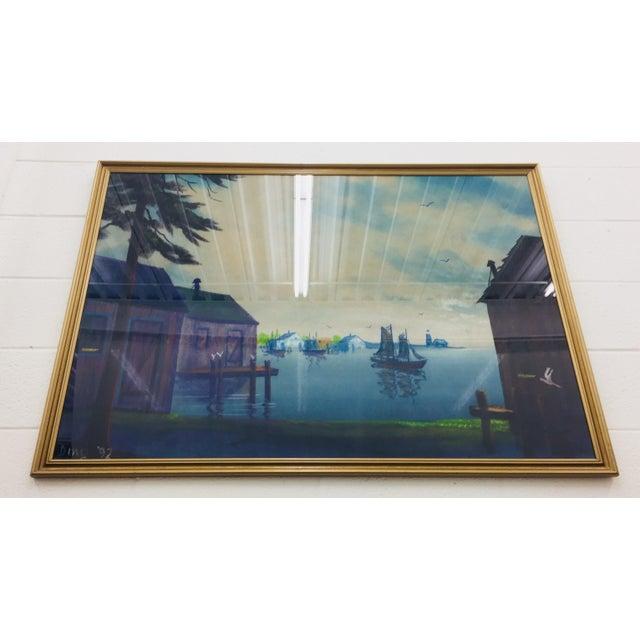 Original Framed Coastal Seascape Painting For Sale - Image 4 of 11