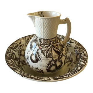 F. J. Emery Transferware Pitcher and Wash Bowl Set For Sale