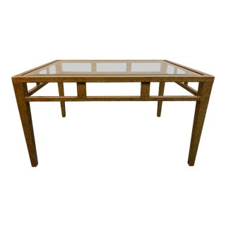 Newman Frey Cassell Tappered Leg Glass Cocktail Table For Sale