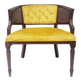 Vintage Yellow Gold Tufted Velvet & Cane Barrel Chair For Sale