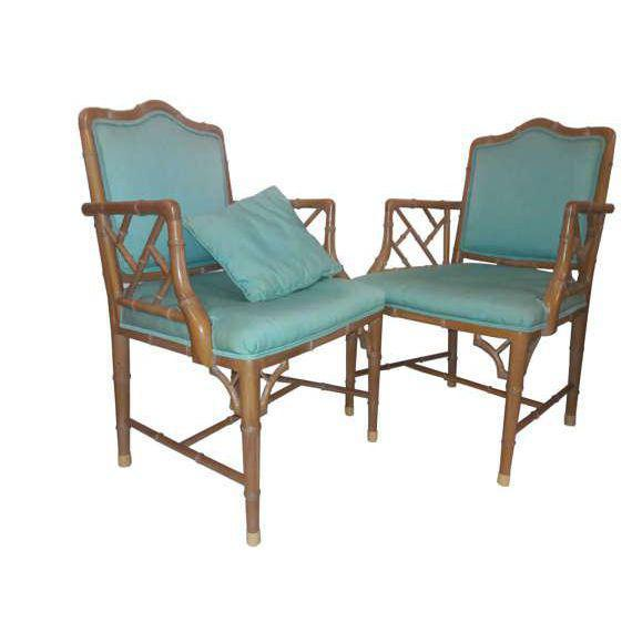 Chinese Chippendale Regency Faux Bamboo Turquoise Chairs - A Pair - Image 5 of 6