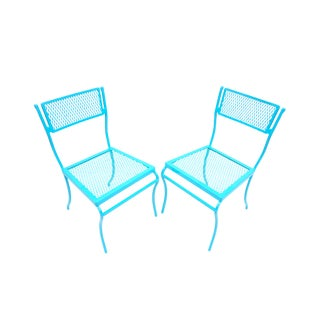 Pair of Mid-Century Salterini Turquoise Metal Garden Chairs | Perfect Size Iron Mesh Indoor/Outdoor Seating For Sale