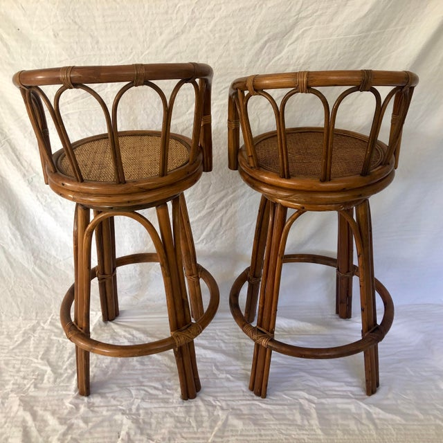 Mid-Century Modern Mid-Century Bamboo Swivel Barstools - a Pair For Sale - Image 3 of 9