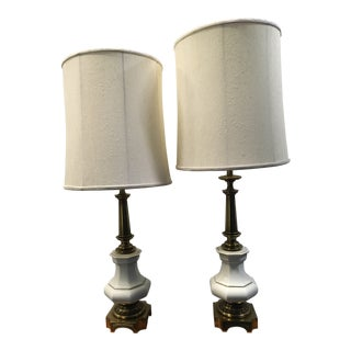 Mid-Century Stiffel White Porcelain & Brass Table Lamps - a Pair For Sale
