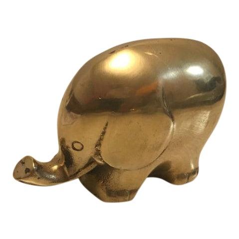Vintage Chubby Brass Elephant - Image 1 of 6
