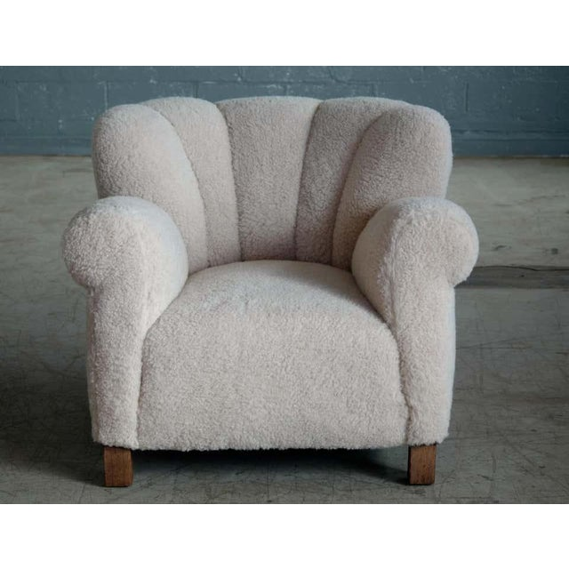 Large Size Club Chair in Lambswool Model 1518 by Fritz Hansen, Denmark, 1940s For Sale - Image 10 of 10