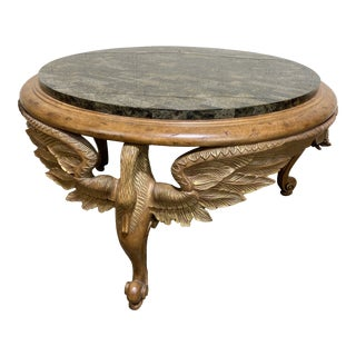 Maitland Smith Wood Geese Carved Coffee Table For Sale