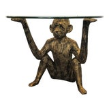 Image of Vintage Hollywood Regency Gold Tone Monkey Cocktail Table For Sale