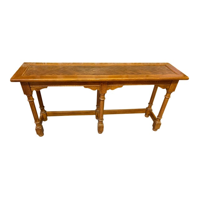 Hekman Oak Console Table Chairish - Sofa Table With Stools Underneath