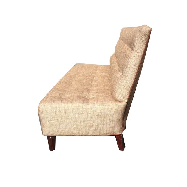 Modern Brand New Custom Made Biscuit Tufted Sofa Settle With Leather Trim For Sale - Image 3 of 10