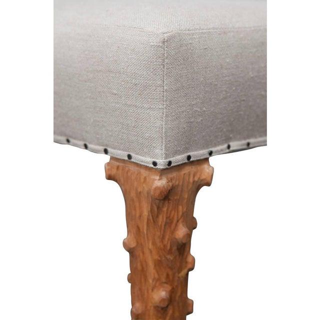 2010s JW Custom Line Carved Leg Bench For Sale - Image 5 of 5