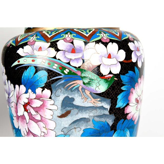 Vintage Gilt Brass Interior Cloisonné Decorative Vase For Sale - Image 4 of 11