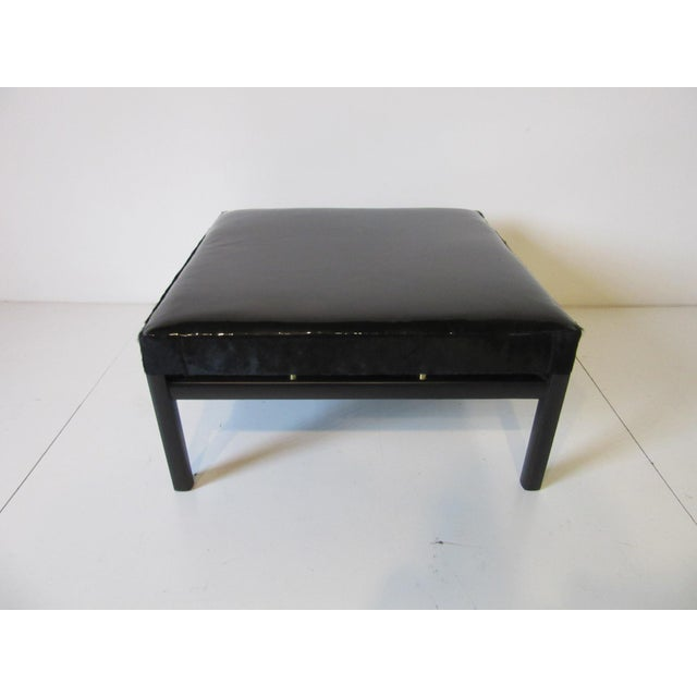 Baker Furniture Company Mid Century Michael Taylor Baker Patent Leather and Pony Hide Ottoman For Sale - Image 4 of 11