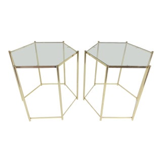Hexagon Glass Top Brass End Tables Nightstands - A Pair For Sale