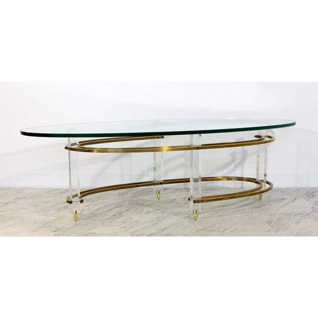 Mid-Century Modern Mid Century Modern Brass Lucite Surfboard Coffee Table Hollis Jones 1970s For Sale - Image 3 of 9