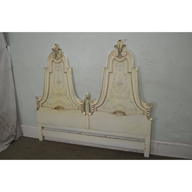 Paint Karges Vintage Hand Paint Decorated King Size Headboard For Sale - Image 7 of 12