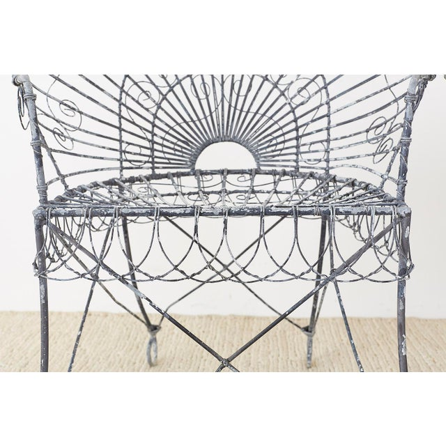 Set of Four French Iron and Wire Garden Chairs For Sale In San Francisco - Image 6 of 13
