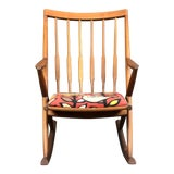 "Image of Mid Century ""X"" Form Danish Teak Rocking Chair For Sale"