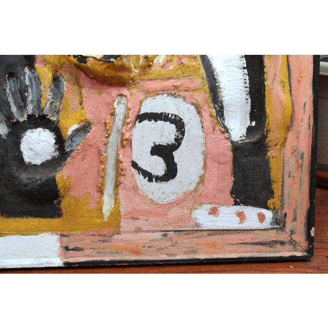 Vintage Outsider Art Expressionist Mixed Media Sculptural Oil Painting, Framed For Sale - Image 4 of 10