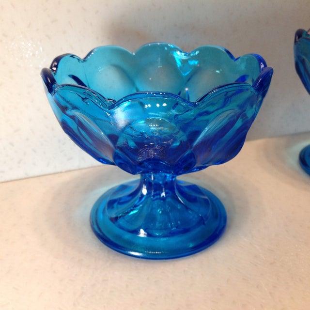 Vintage Blue Glass Pedestal Bowls - A Pair - Image 5 of 10