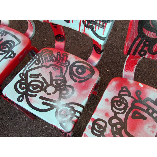 Graffiti Painted Children's Thonet Chairs - Set of 4 - Image 10 of 11
