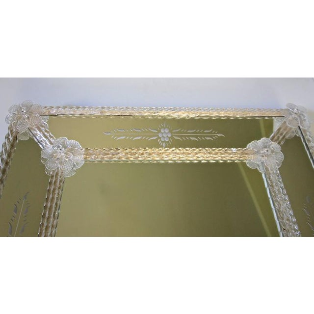 1960s Italian Murano Venetian Floral Etched Wall Mirror For Sale - Image 9 of 12