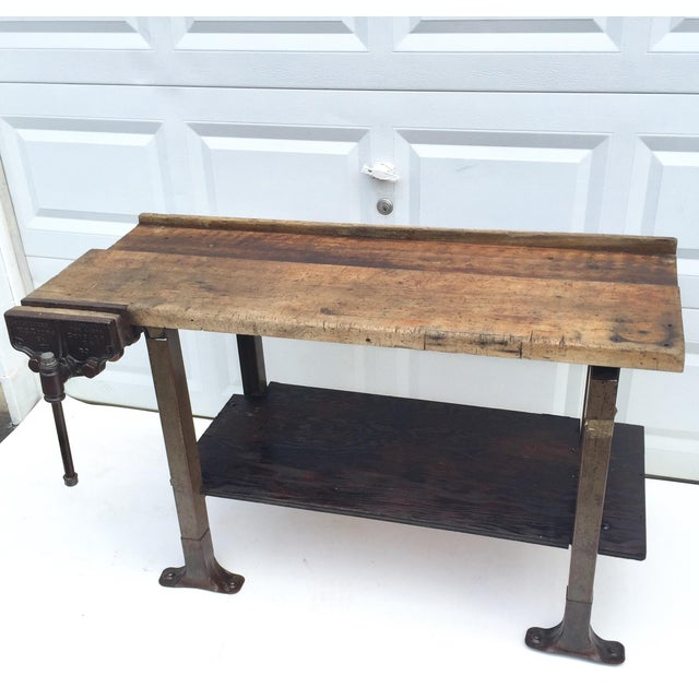 Industrial Vintage Industrial Workbench With Table Vise For Sale - Image 3 of 10