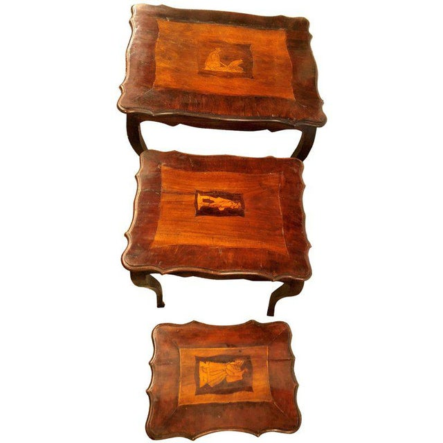Italian 19th Century Antique Nest of Three Stack Tables For Sale - Image 10 of 10