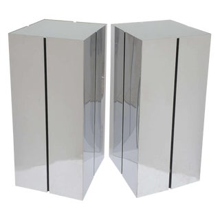 Square Illuminated Stainless Steel Pedestals by Neal Small for George Kovacs - a Pair For Sale