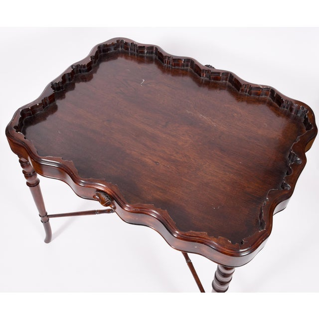 Vintage Mahogany Base Frame Silver Plate Tray Table For Sale - Image 9 of 13