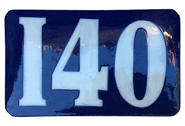 french blue ceramic enamel number 140 plaque chairish