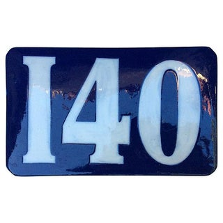French Blue Ceramic Enamel Number '140' Plaque For Sale