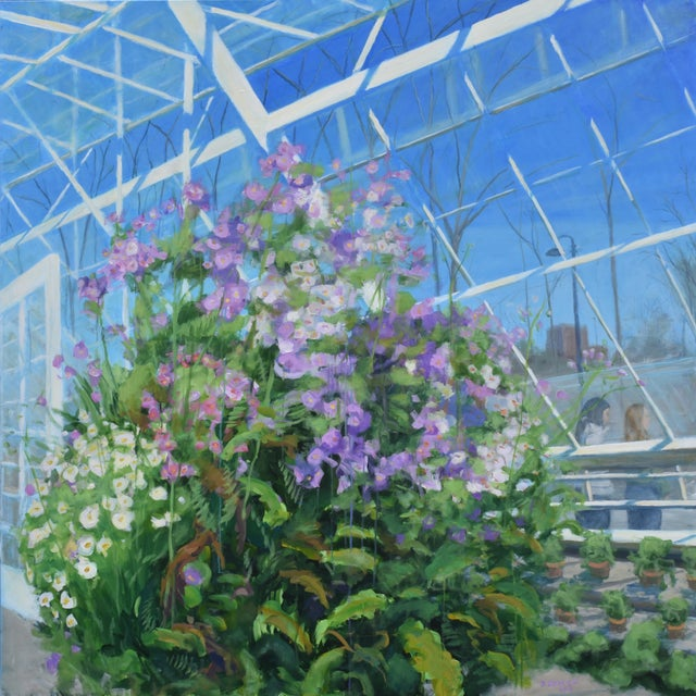"""""""Meet Me at the Greenhouse"""". Large (48"""" X 48"""") Contemporary Painting by Stephen Remick For Sale - Image 13 of 13"""