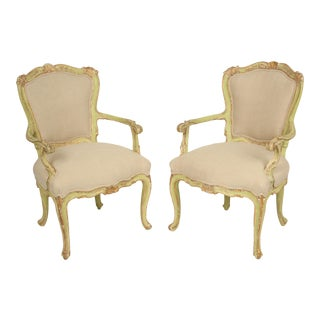 Late 19th Century Antique Louis XV Style Painted Armchairs- A Pair For Sale
