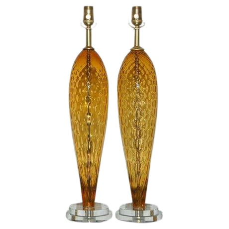 Vintage Italian Glass Table Lamps Butterscotch For Sale
