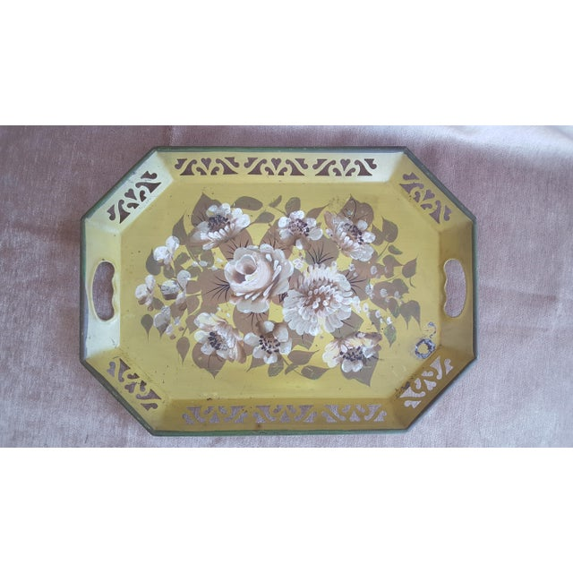 Green Vintage Chartreuse Floral Tole Tray For Sale - Image 8 of 8