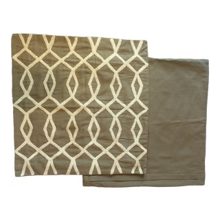 Contemporary Embroidered West Elm Tan Crewel Pillow Covers - a Pair For Sale