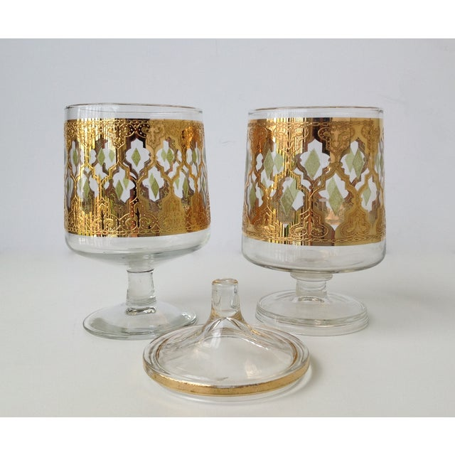 "Culver ""Valencia"" Gilt Footed Containers - Pair - Image 7 of 9"