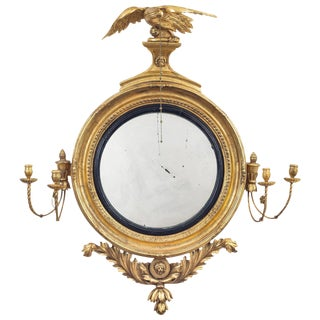 Regency Classical Gilt Convex Girandole Mirror For Sale