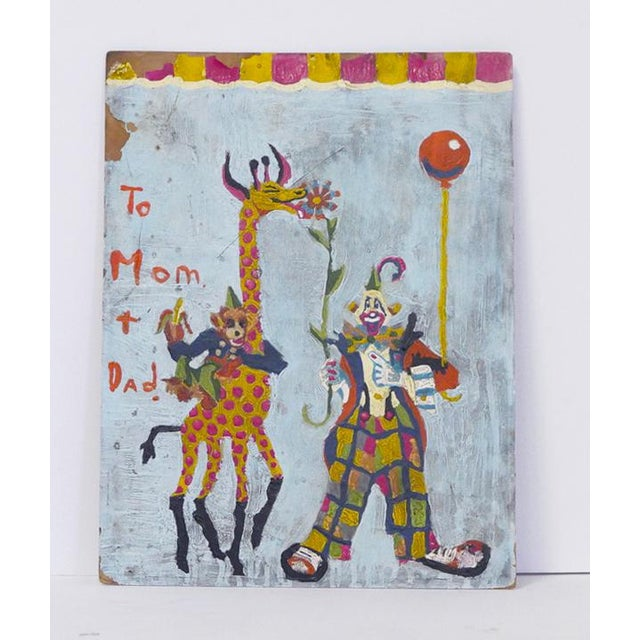 1950s Clown, Giraffe and Monkey Circus Painting For Sale - Image 5 of 5