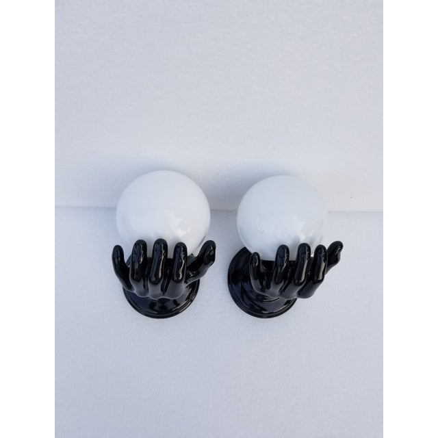 """Ceramic Hand Sconces by """"Le Trefle"""" - 2 Pairs Available For Sale - Image 13 of 13"""