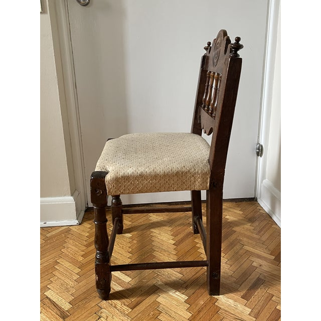 17th Century Italian Florentine Hand Carved Upholstered Walnut Side Chair For Sale - Image 4 of 13